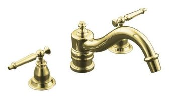 Kohler K-T125-4-PB Antique Deck-Mount High-Flow Bath Faucet Trim Only - Polished Brass