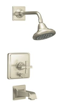 Kohler K-T13133-3A-BN Pinstripe Pressure-Balancing Bath and Shower Faucet Trim Only w/Cross Handle - Brushed Nickel