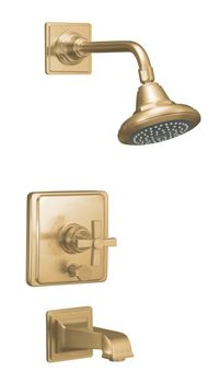 Kohler K-T13133-3A-BV Pinstripe Pressure-Balancing Bath and Shower Faucet Trim Only w/Cross Handle - Brushed Bronze