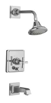 Kohler K-T13133-3A-CP Pinstripe Pressure-Balancing Bath and Shower Faucet Trim Only w/Cross Handle - Chrome