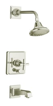 Kohler K-T13133-3A-SN Pinstripe Pressure-Balancing Bath and Shower Faucet Trim Only w/Cross Handle - Polished Nickel
