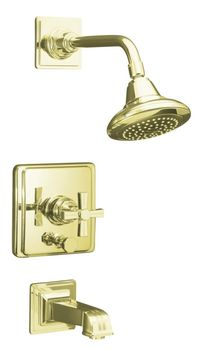 Kohler K-T13133-3B-AF Pinstripe Pressure-Balancing Bath and Shower Faucet Trim Only w/Cross Handle - French Gold