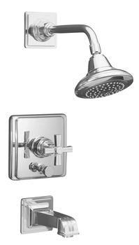 Kohler K-T13133-3B-CP Pinstripe Pressure-Balancing Bath and Shower Faucet Trim Only w/Cross Handle - Chrome