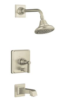 Kohler K-T13133-4A-BN Pinstripe Pressure-Balancing Bath and Shower Faucet Trim Only w/Lever Handle - Brushed Nickel