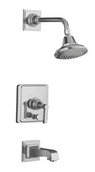 Kohler K-T13133-4A-CP Pinstripe Pressure-Balancing Bath and Shower Faucet Trim Only w/Lever Handle - Chrome