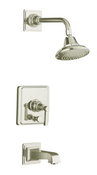 Kohler K-T13133-4A-SN Pinstripe Pressure-Balancing Bath and Shower Faucet Trim Only w/Lever Handle - Polished Nickel