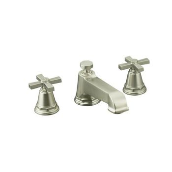 Kohler K-T13140-3A-BN Pinstripe Pure Design Deck-Mount Bath Faucet Trim w/Cross Handles - Brushed Nickel