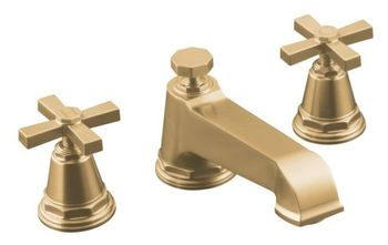 Kohler K-T13140-3A-BV Pinstripe Pure Design Deck-Mount Bath Faucet Trim w/Cross Handles - Brushed Bronze