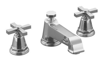 Kohler K-T13140-3A-CP Pinstripe Pure Design Deck-Mount Bath Faucet Trim w/Cross Handles - Chrome