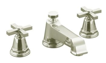 Kohler K-T13140-3A-SN Pinstripe Pure Design Deck-Mount Bath Faucet Trim w/Cross Handles - Polished Nickel