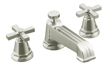 Kohler K-T13140-3B-SN Pinstripe Deck-Mount Bath Faucet Trim w/Cross Handles - Polished Nickel