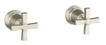 Kohler K-T13141-3A-CP Pinstripe Pure Design Deck or Wall Mount Bath Valve Trim w/Cross Handles - Chrome (Pictured in Brushed Nickel)