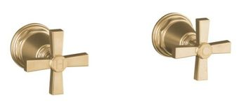 Kohler K-T13141-3A-BV Pinstripe Pure Design Deck or Wall Mount Bath Valve Trim w/Cross Handles - Brushed Bronze