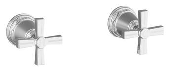 Kohler K-T13141-3B-BN Pinstripe Deck or Wall Mount Bath Valve Trim w/Cross Handles - Brushed Nickel (Pictured in Polished Nickel)