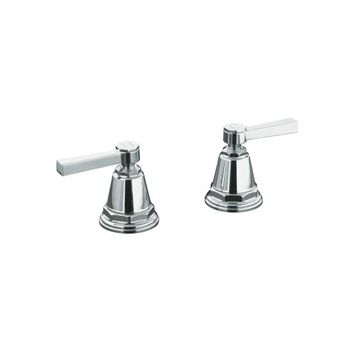 Kohler K-T13141-4A-SN Pinstripe Pure Design Deck or Wall Mount Bath Valve Trim w/Lever Handles - Polished Nickel (Pictured in Chrome)