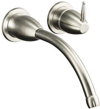 Kohler K-T198-BN Falling Water Wall-Mount Lavatory Faucet Trim (Valve Not Included) - Brushed Nickel