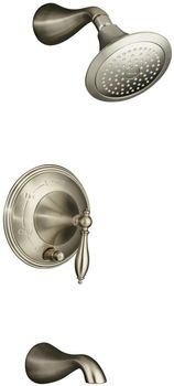 Kohler K-T312-4M-BN Finial Traditional Rite-Temp Pressure-Balancing Bath and Shower Faucet Trim with Lever Handle - Brushed Nickel (Valve Not Included)