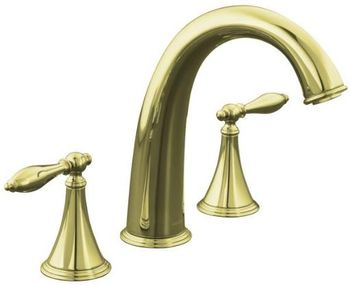 Kohler K-T314-4M-AF Finial Traditional Deck-Mount High-Flow Bath Faucet Trim - French Gold (Valve Not Included)
