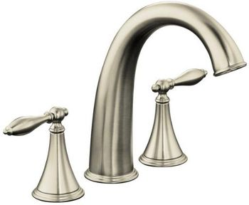 Kohler K-T314-4M-BN Finial Traditional Deck-Mount High-Flow Bath Faucet Trim - Brushed Nickel (Valve Not Included)