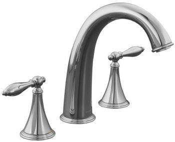 Kohler K-T314-4M-CP Finial Traditional Deck-Mount High-Flow Bath Faucet Trim - Chrome