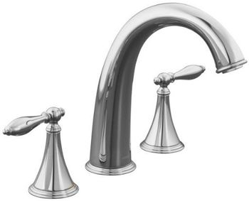 Kohler K-T314-4M-SN Finial Traditional Deck-Mount High-Flow Bath Faucet Trim - Polished Nickel (Valve Not Included)