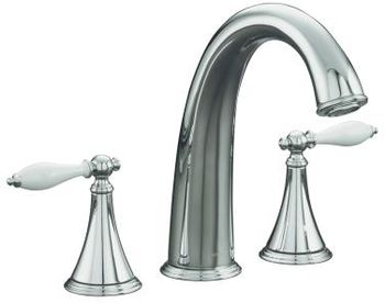 Kohler K-T314-4P-BN Finial Traditional Deck-Mount High-Flow Bath Faucet Trim - Brushed Nickel (Valve Not Included) (Pictured in Chrome)