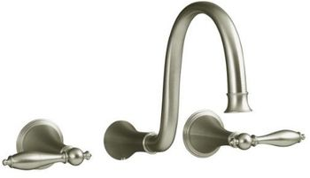 Kohler K-T343-4M-BN Finial Traditional Wall-Mount Lavatory Faucet Trim with Lever Handles - Brushed Nickel (Valve Not Included)