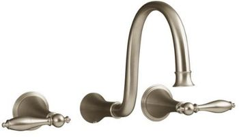 Kohler K-T343-4M-BV Finial Traditional Wall-Mount Lavatory Faucet Trim with Lever Handles - Brushed Bronze (Valve Not Included)