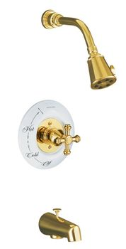 Kohler K-T6808-3D-PB IV Georges Brass Bath and Shower Faucet Trim Only - Polished Brass (Pictured w/Ceramic Dial Plate, Not Included)