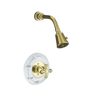 Kohler K-T6809-3D-BN IV Georges Brass Pressure-Balancing Shower Faucet Trim Only - Brushed Nickel (Pictured in Polished Brass w/Ceramic Dial Plate, Not Included)
