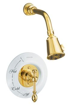 Kohler K-T6809-4D-PB IV Georges Brass Pressure-Balancing Shower Faucet Trim Only - Polished Brass (Pictured w/Ceramic Dial Plate, Not Included)