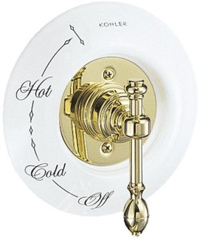 Kohler K-T6810-4D-PB IV Georges Brass Pressure-Balance Valve Trim Only - Polished Brass (Pictured w/Ceramic Dial Plate, Not Included)