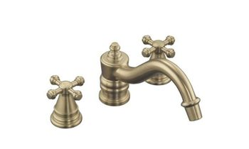 Kohler K-T6906-3-SN IV Georges Brass Deck-Mount Roman Tub Faucet w/ Cross Handles Trim Only - Satin Nickel (Pictured in Brushed Bronze)