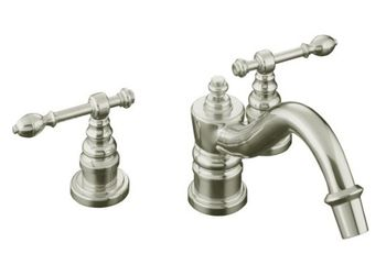 Kohler K-T6906-4-SN IV Georges Brass Deck-Mount Roman Tub Faucet w/ Lever Handles Trim Only - Satin Nickel