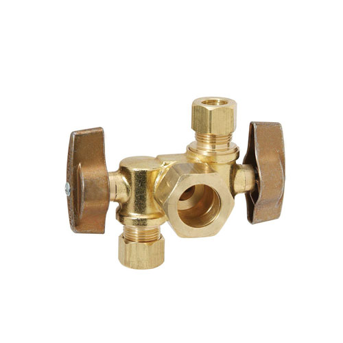 1/4 Turn Dual Outlet Shut-Off Angle Ball Valve 1/2 in Nominal Comp Inlet x 3/8 in O.D. Comp x 3/8 in O.D. Comp