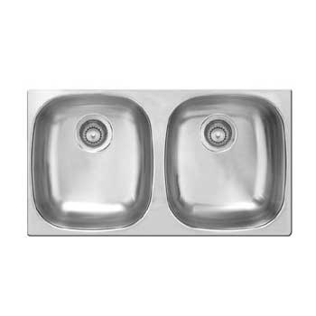 Kindred UD800BX Undermount Double Bowl Kitchen Sink - Stainless Steel