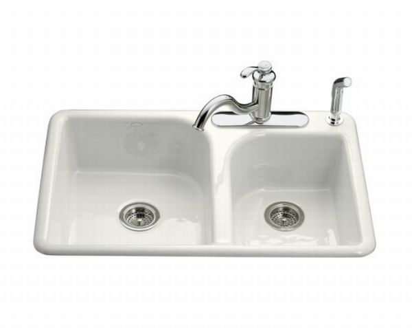 Kohler K-5948-3-0 Efficiency Double Basin Cast Iron Kitchen Sink