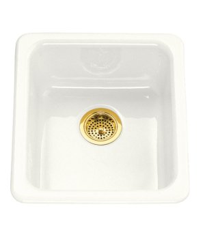 Koher K-6584-0 Iron/Tones Self Rimming or Undercounter Single Bowl Kitchen Sink - White