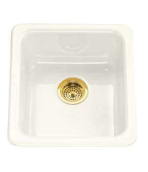 Koher K-6584-96 Iron/Tones Self Rimming or Undercounter Single Bowl Kitchen Sink - Biscuit