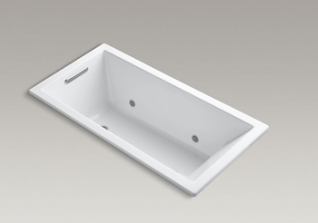Kohler K-1167-VBC Underscore Soaking Bathtub Drop In with VibrAcoustic Sound Technology - White