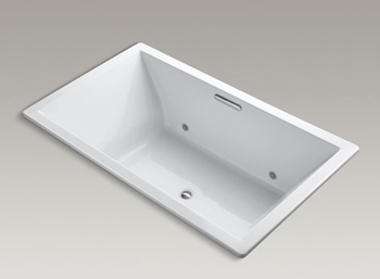 Kohler K-1174-VBC Underscore Soaking Bathtub Drop In with VibrAcoustic Sound Technology - White