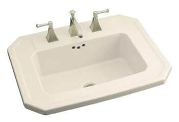 Kohler K-2325-1-47 Kathryn Self-Rimming Lavatory with Single-Hole Faucet Drilling - Almond