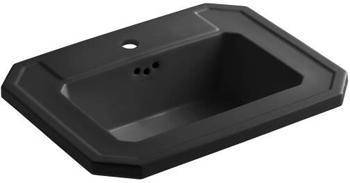Kohler K-2325-1-7 Kathryn Self-Rimming Lavatory with Single-Hole Faucet Drilling - Black