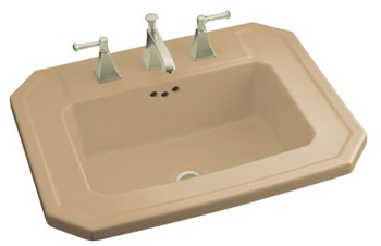 Kohler K-2325-1-33 Kathryn Self-Rimming Lavatory with Single-Hole Faucet Drilling - Mexican Sand