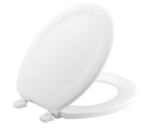 Kohler K-4816 Stonewood Round Front Wood Toilet Seat with Quick Release Hinges - White