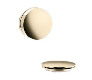 Kohler K-T37392 PureFlo Contemporary Rotary Turn Cable Bath Drain Trim - Vibrant French Gold