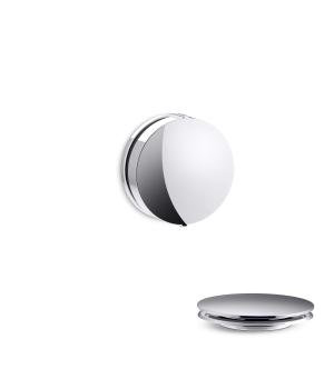 Kohler K-T37392 PureFlo Contemporary Rotary Turn Cable Bath Drain Trim - Brushed Nickel (Pictured in Polished Chrome)