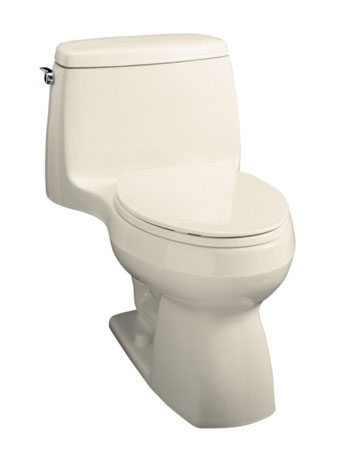 Kohler K-3323-47 Santa Rosa Compact Elongated Toilet With Seat, Cover and Left-Hand Trip Lever - Almond