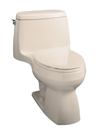 Kohler K-3323-55 Santa Rosa Compact Elongated Toilet With Seat, Cover and Left-Hand Trip Lever - Innocent Blush