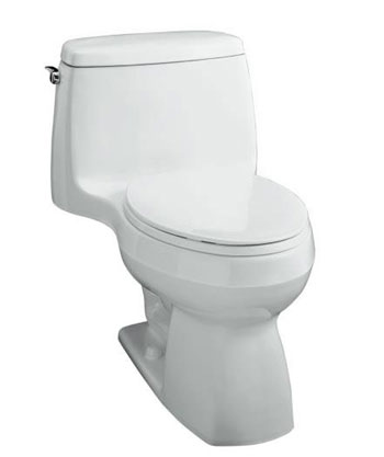 Kohler K-3323-0 Santa Rosa Compact Elongated Toilet With Seat, Cover and Left-Hand Trip Lever - White